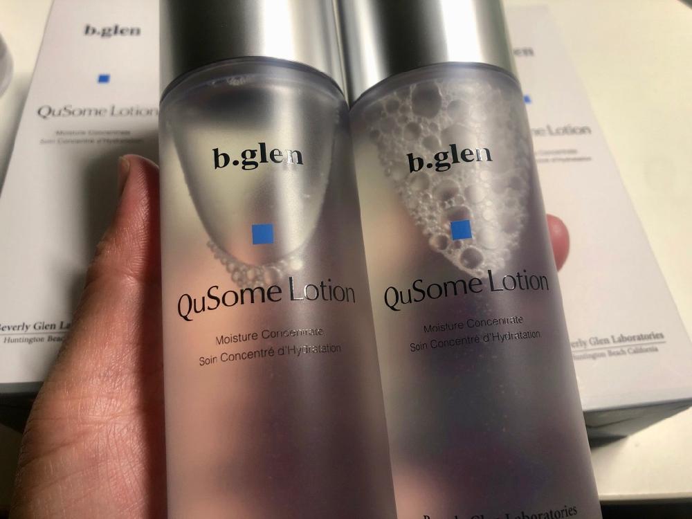 最近成分見直しが行われたQuSomeローション。ビーグレン。各美容液を使う前にしっかりと肌に浸透させて道を作ります。